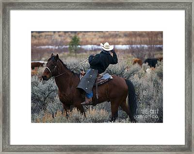 Watching The Herd Framed Print by Mike  Dawson