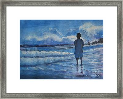 Watching The Sea Framed Print by Usha Rai