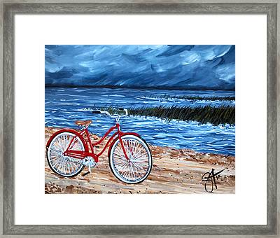 Framed Print featuring the painting Watching The Storm by Jackie Carpenter