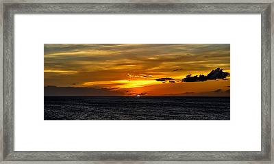 Watching The Sun Set In Barbados  Framed Print