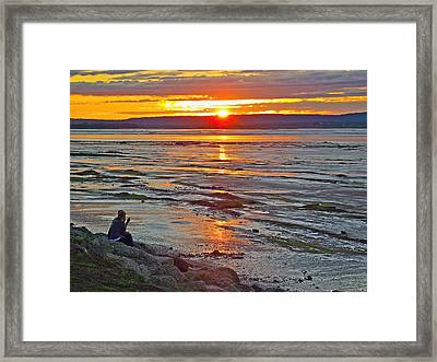 Watching The Sunset Over Minas Basin In Fundy Bay Near Grand Framed Print by Ruth Hager