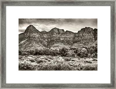 Watchman Trail In Sepia - Zion Framed Print by Tammy Wetzel