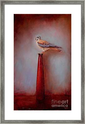 Watchtower - American Kestrel  Framed Print by Lori  McNee