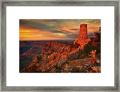 Watchtower Sunset Framed Print by Priscilla Burgers