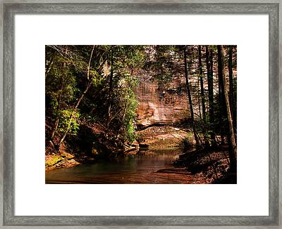 Framed Print featuring the photograph Water And Sandstone by Haren Images- Kriss Haren