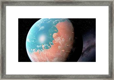 Water And Volcanoes On Mars Framed Print