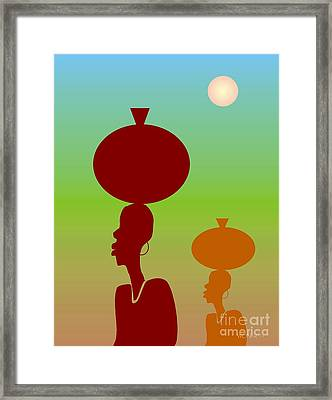 Water Bearers Framed Print by Walter Oliver Neal