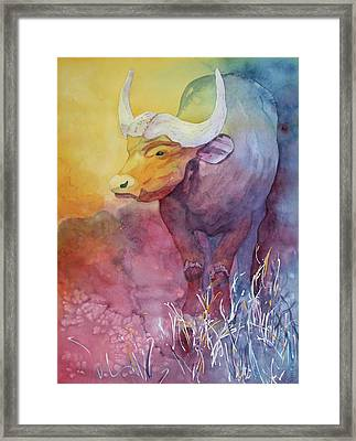 Framed Print featuring the painting Water Buffalo by Nancy Jolley