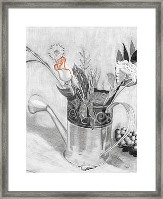 Water Can Bouquet Framed Print