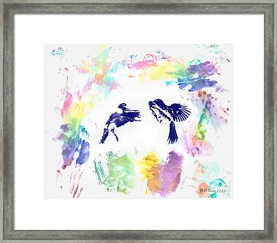 Water Color Bird Fight Framed Print by Bill Cannon