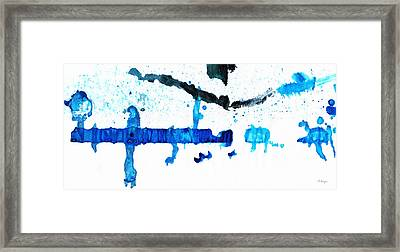 Water Dance - Blue And White Art By Sharon Cummings Framed Print by Sharon Cummings