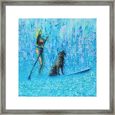 Water Dog Framed Print by Ned Shuchter