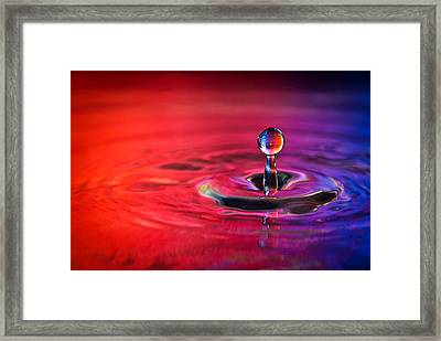 Water Drop In Red And Blue - Water Drop Photograph Framed Print