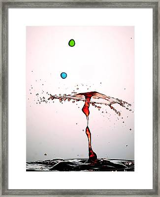 Water Droplets Collision Liquid Art 11 Framed Print by Paul Ge