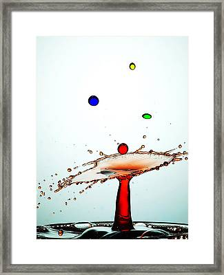 Water Droplets Collision Liquid Art 13 Framed Print by Paul Ge