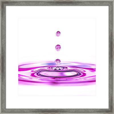 Water Droplets White And Purple Framed Print