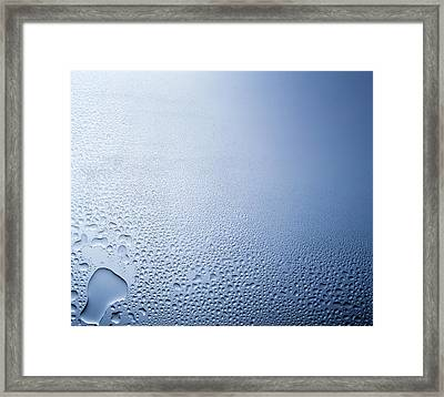 Water Drops On Clear Glass With Purple Framed Print