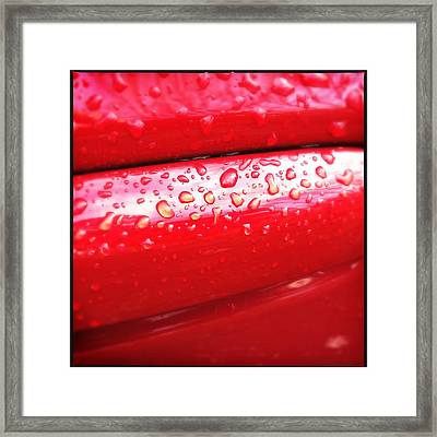 Water Drops On Red Car Paint Framed Print
