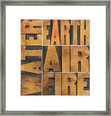 Water Earth Air And Fire Framed Print