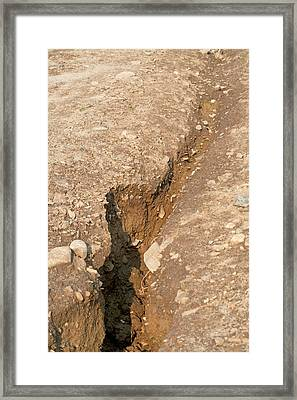 Water Erosion Due To Irrigation Runoff Framed Print by Science Stock Photography
