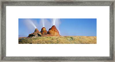 Water Erupting From Rocks, Fly Geyser Framed Print by Panoramic Images