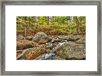 Water Fall In New Hampshire Framed Print