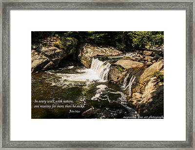 Water Fall With John Muir Quote Framed Print by Marilyn Carlyle Greiner