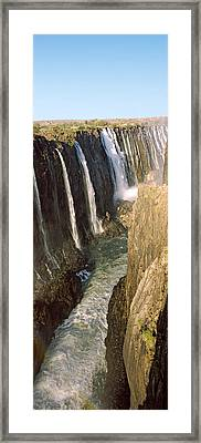 Water Falling Through Rocks In A River Framed Print