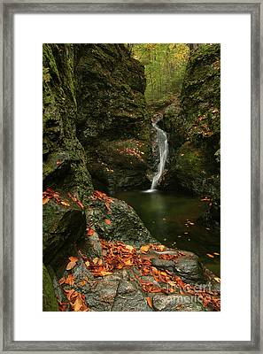 Water Falls As Autumn Starts Framed Print by Karol Livote