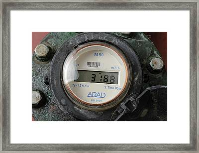 Water Flow Meter With Digital Display Framed Print by Photostock-israel