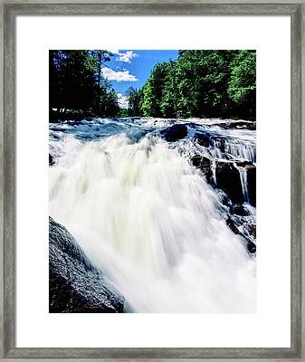 Water Flowing From Rocks In A Forest Framed Print