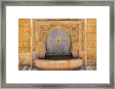 Water Fountain Mausoleum Of Mohammed V Opposite Hassan Tower Rabat Morocco  Framed Print