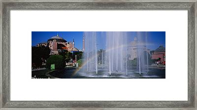 Water Fountain With A Rainbow In Front Framed Print