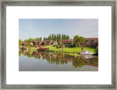 Water Front Houses In Barrow Upon Soar Framed Print by Ashley Cooper