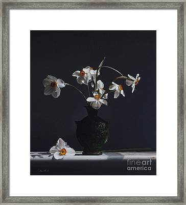 Water Jug With Narcissus   Framed Print by Larry Preston