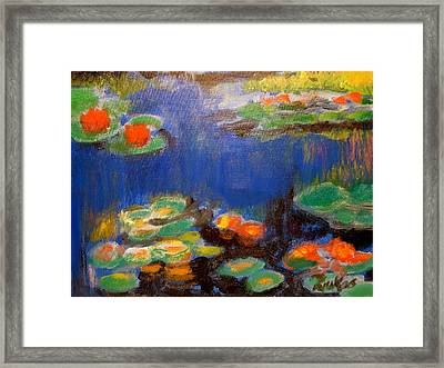 Framed Print featuring the mixed media Water Lilies  After Monet by Diana Riukas