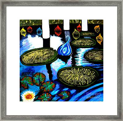 Water Lilies And Chihuly Glass Baubles At Missouri Botanical Garden Framed Print