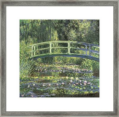 Water Lilies And Japanese Bridge Framed Print by Claude Monet