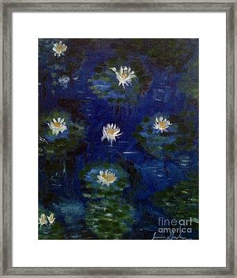 Framed Print featuring the painting Water Lilies by Brindha Naveen