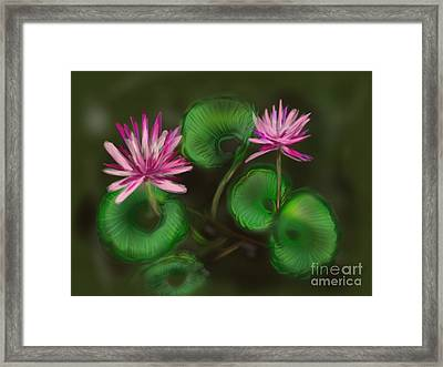 Framed Print featuring the digital art Water Lilies by Christine Fournier