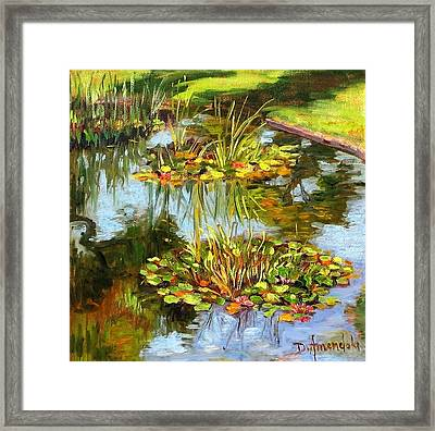 Water Lilies In California Framed Print by Dominique Amendola
