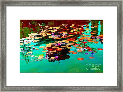 Water Lilies Pond Pink Lotus And Koi  Beautiful Nympheas Water Garden  Quebec Art Carole Spandau Framed Print