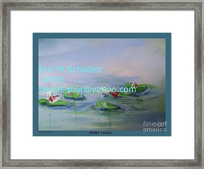 Water Lilies Print Framed Print by Eric  Schiabor