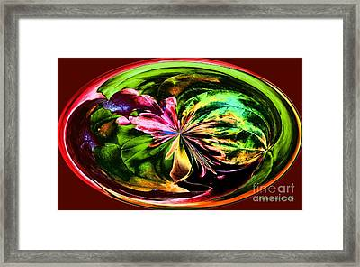 Framed Print featuring the digital art Water Lily Abstract Art by Annie Zeno