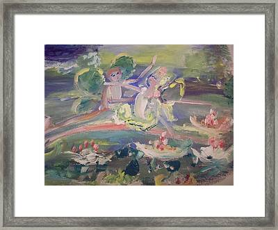 Water Lily Fairies Framed Print by Judith Desrosiers