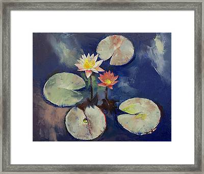 Water Lily Painting Framed Print by Michael Creese