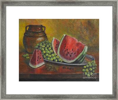 Water Melon Framed Print by Jana Baker