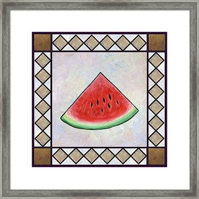 Water Melon Slice Framed Print by Linda Mears