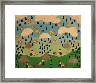 Framed Print featuring the painting Water Off A Duck's Umbrella by Erika Chamberlin