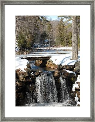 Water Over The Dam Framed Print by Mim White